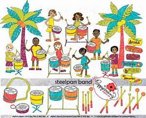 Steelpan Band: Clip Art Pack 300 dpi Digital Images Children