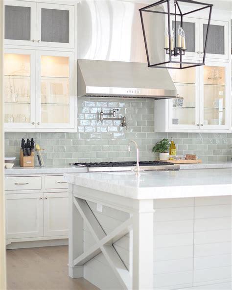 backsplash for white kitchen bright white kitchen with pale blue subway tile backsplash