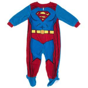 blue superman footed pajamas for toddler boys
