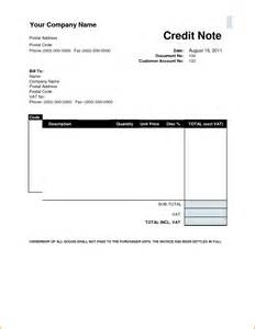 Sample Credit Note Template