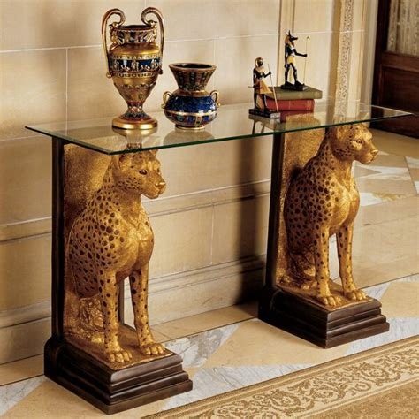 design toscano egyptian royal cheetahs sculptural glass