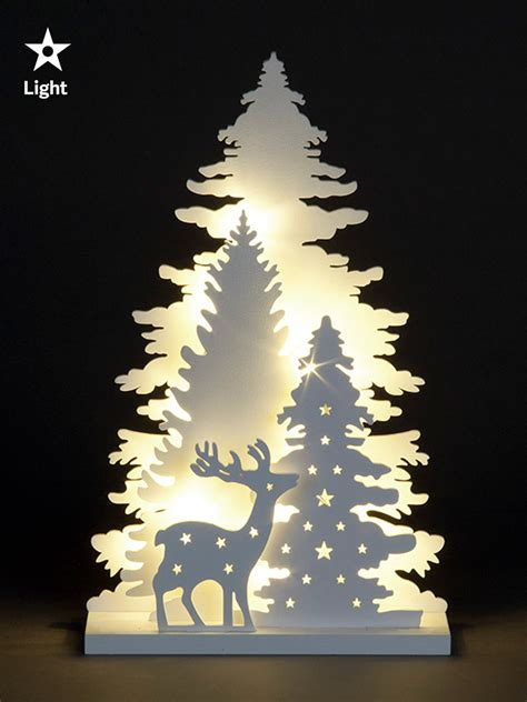 buy wooden christmas tree wooden white light up decorations christmas led ornament 4126