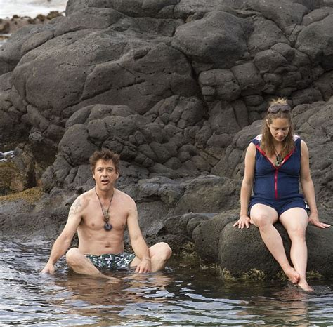 Robert Downey Jr S Pregnant Wife Susan Strips Down To Her Bikini As Couple Take A Dip In Hawaii