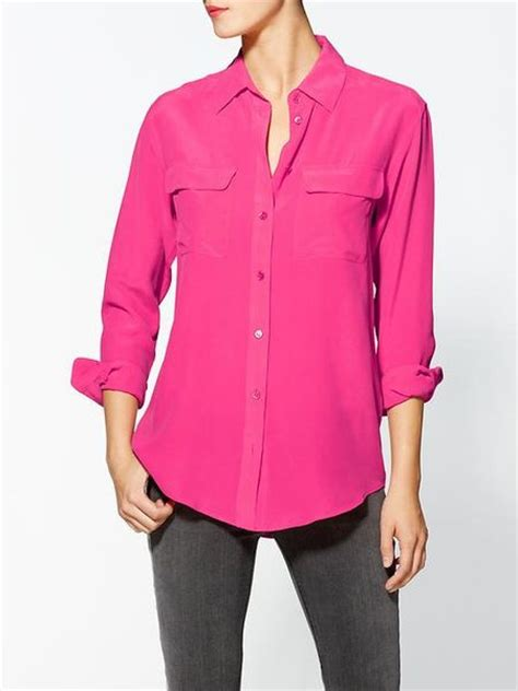 fuschia blouse equipment signature silk blouse in pink fuschia lyst