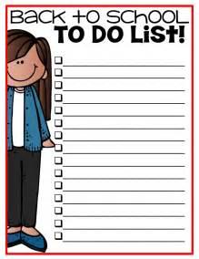 Printable Back to School List