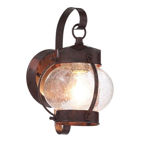 glomar 1 light bronze outdoor wall mount lantern with clear seed glass shade hd 631