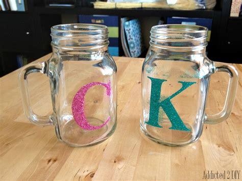 glitter monogram mason jars addicted  diy