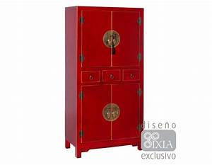 Armoire Rouge Style Chinois Pour Une Chambre
