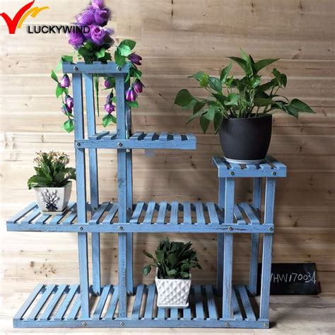 vintage blue multi tiered plant stand wood buy tiered plant standmulti tiered plant stand