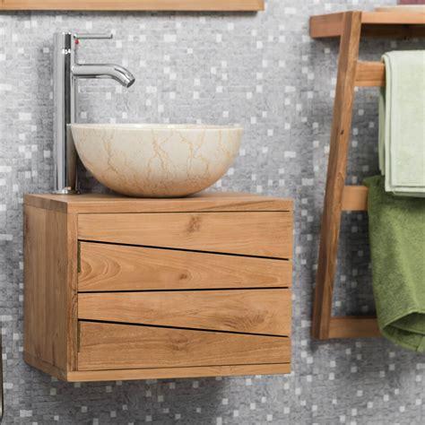 meuble sous vasque simple vasque suspendu en bois teck massif cosy rectangle naturel l