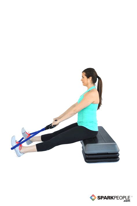 seated rows  band exercise demonstration sparkpeople