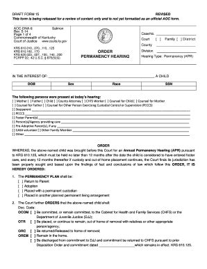 fillable courts ky order permanency hearing