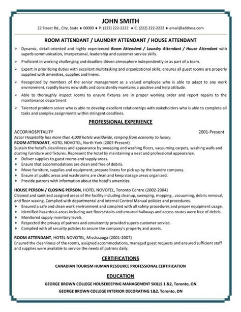 Hotel Room Attendant Resume by Pin By Resumetemplates101 On Best Hospitality Resume