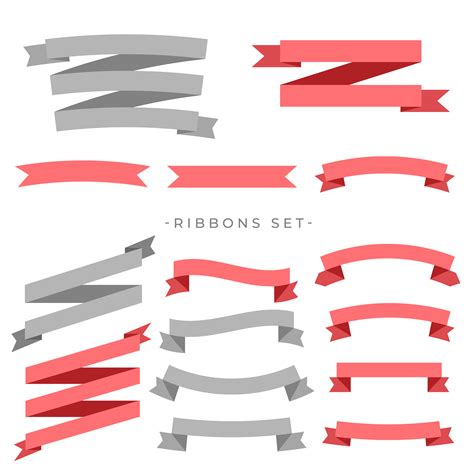 Ribbon Flat big set of flat ribbons banner free vector