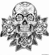 Coloring Skull Pages Adult Hard Sugar Tattoos Difficult Mexican Tatoo Tattoo Adults Skulls Printable Designs Skeleton Azcoloring sketch template