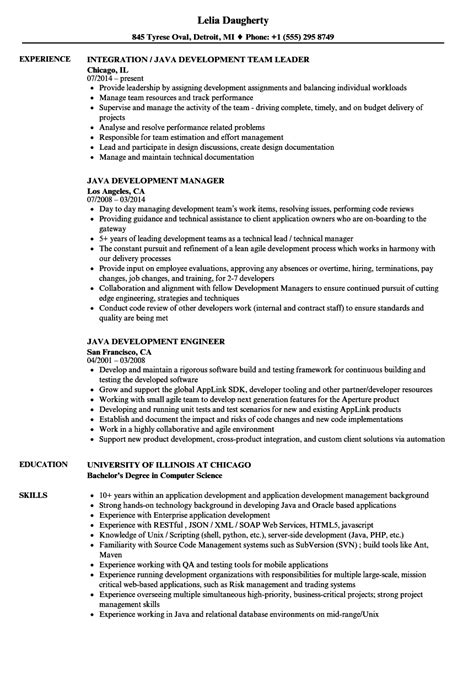 java development resume sles velvet jobs