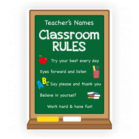 classroom rules template classroom rules poster with custom teacher name and rules