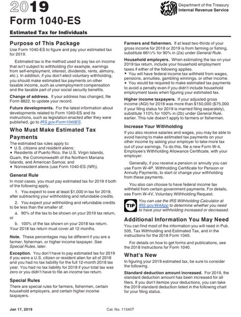 irs form 1040 es fillable pdf 2019 estimated tax