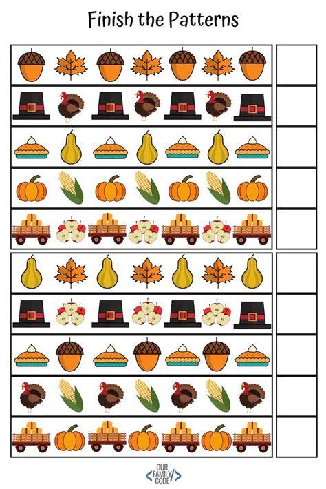 fall preschool pattern worksheets unplugged coding