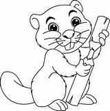 Beaver Coloring Vector Animal Cartoon Clip Illustration sketch template