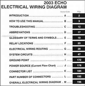 2003 Toyota Echo Wiring Diagram Manual Original