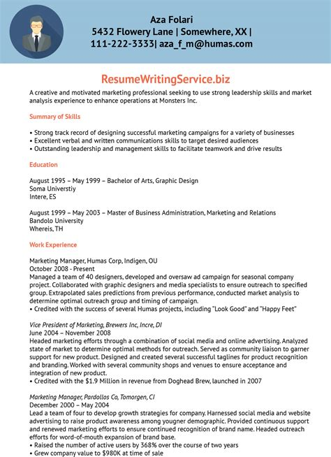 marketing managerassociate marketing manager resume sample resume writing service