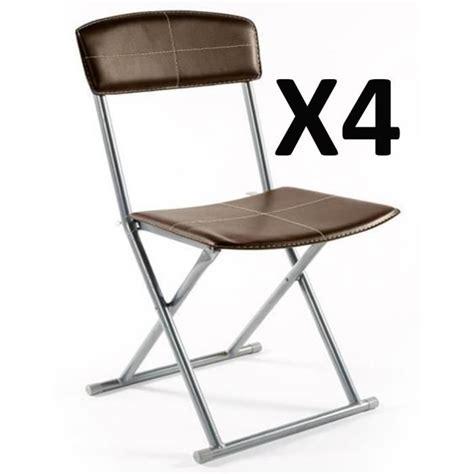 chaise pliante salle à manger lot de 4 chaises pliantes pvc simil cuir en marron achat