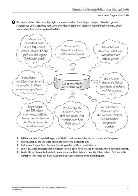 Ethik · Arbeitsblätter · Sekundarstufe I · Lehrerbüro