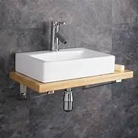 nice wood bathroom sinks Wall Mounted Wooden Shelf White Ceramic Rectangular Sink ...