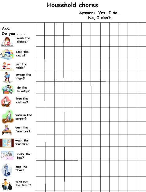 household chores speaking activity