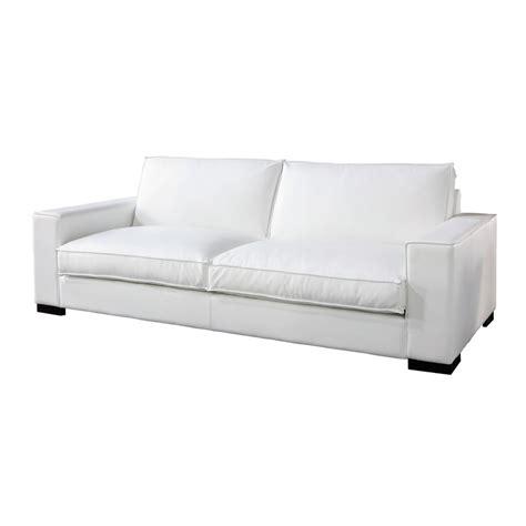 canapé 3 places fixe canapé 3 4 places fixe cuir blanc munich maisons du monde