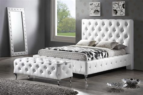 King Platform Bed With Tufted Headboard by Baxton Studio Bbt6220 Stella Tufted White Modern
