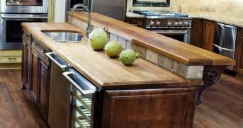 kitchen island with raised bar teak countertops j aaron
