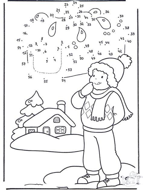 winter cijfertekening  kleurplaten  en om huis