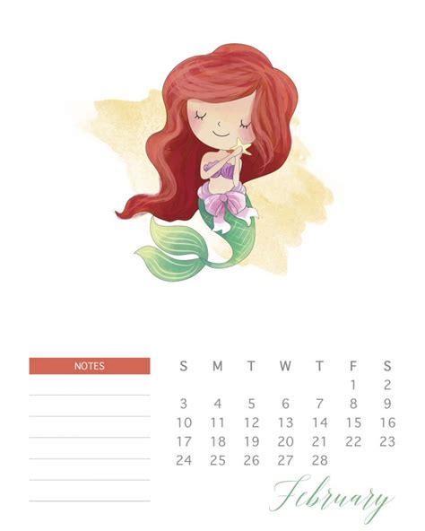 printable  watercolor princess calendar