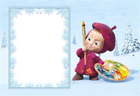 Masha And The Bear Kids Snowy Transparent Png Frame