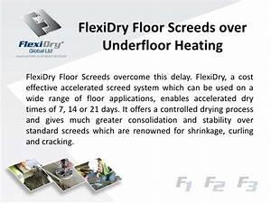 Flexi dry floor screeds over underfloor heating for Floor screed drying times
