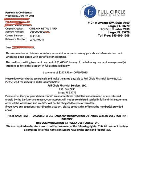letters  debt settlement validation credit