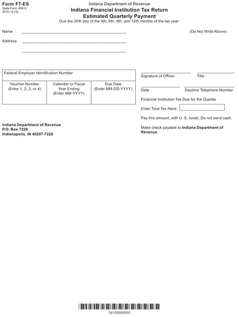 Form Ft Es State Form 49410 Download Fillable Pdf Or Fill Online Indiana Financial Institution