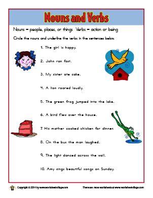 nouns  verbs worksheet village  images nouns