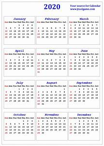 2020 Calendar Printable Calendar 2020 Calendar In