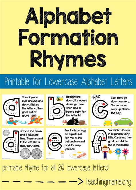 lowercase alphabet formation rhymes teaching mamas