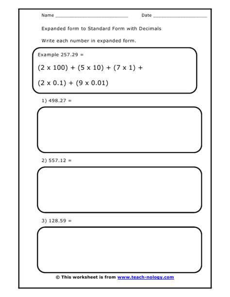 expanded form to standard form with decimals