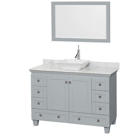 Accmilan 48 Inch Vessel Sink Bathroom Vanity In Grey