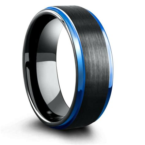 8mm blue black mens tungsten wedding band with step down