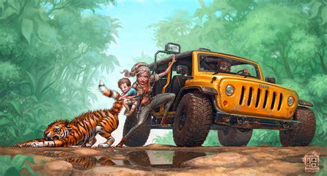 jeep art child family tirgu pulls tiger jeep art wallpaper