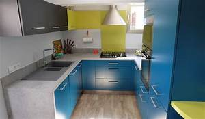 cuisine vintage en u pour petit espace modele harmonie With exemple de cuisine en u
