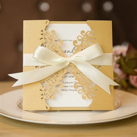 formal gold laser cut wedding invitation cards with band