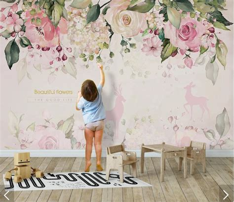 watercolor elk pink flower wallpaper mural wall art decals