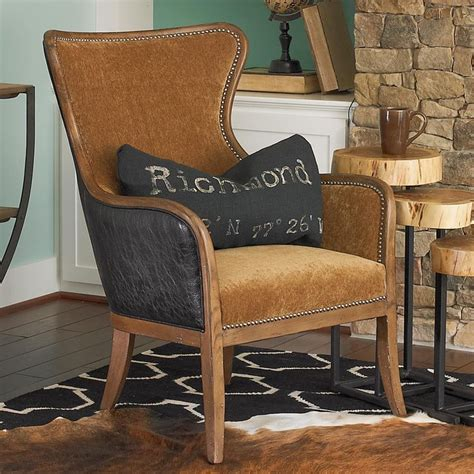 faux leather and velvet wing chair